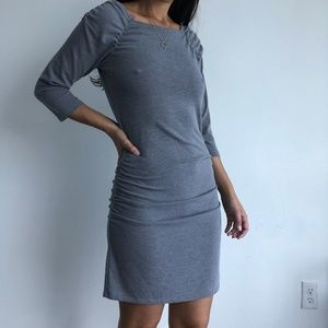 VINCE gray ruched bodycon rib knit dress XS